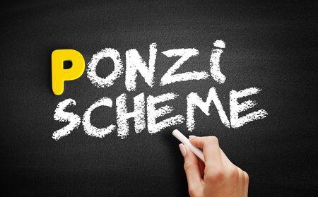 Ponzi scheme text on blackboard, business concept background