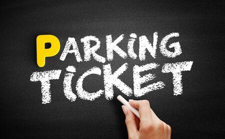 Parking ticket text on blackboard, concept background Reklamní fotografie