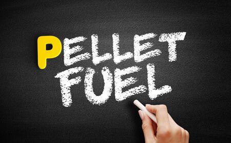 Pellet fuel text on blackboard, business concept background Stockfoto
