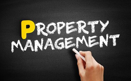 Property Management text on blackboard, business concept background Reklamní fotografie - 130802539