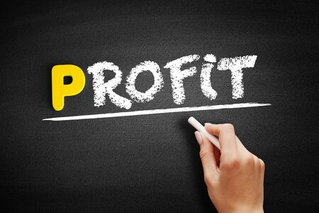 PROFIT text on blackboard, business concept background 스톡 콘텐츠