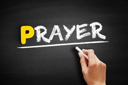 Prayer text on blackboard, business concept background