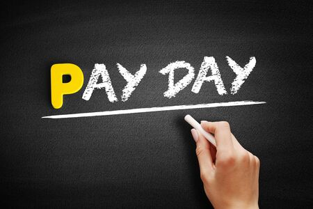 Pay Day text on blackboard, business concept background Banco de Imagens
