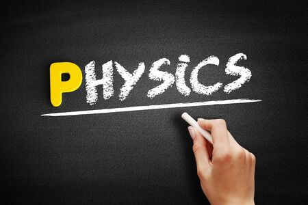 Physics text on blackboard, concept background