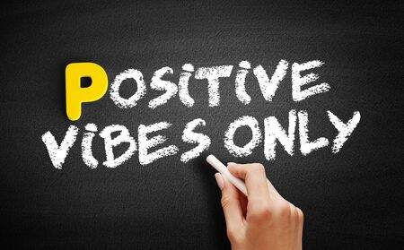 Positive Vibes Only text on blackboard, concept background