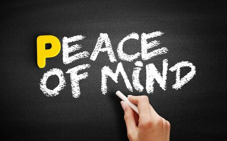 Peace of Mind text on blackboard, concept background