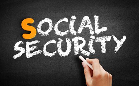 Social Security text on blackboard, business concept background