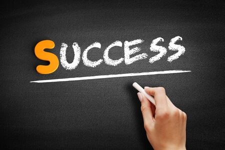 Success text on blackboard, business concept background