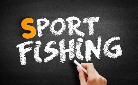 Sport fishing text on blackboard, concept background