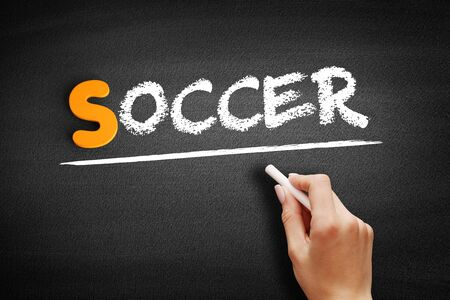 Soccer text on blackboard, concept background