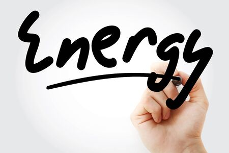 Hand writing Energy with marker, health concept Imagens