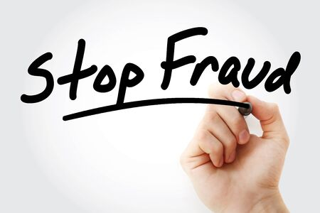 Hand writing Stop Fraud with marker, concept background