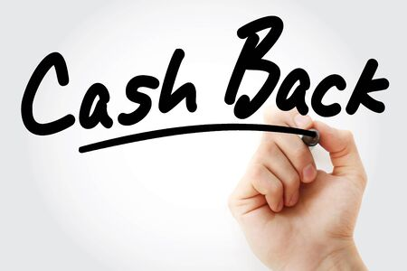 Hand writing Cash Back with marker, concept background