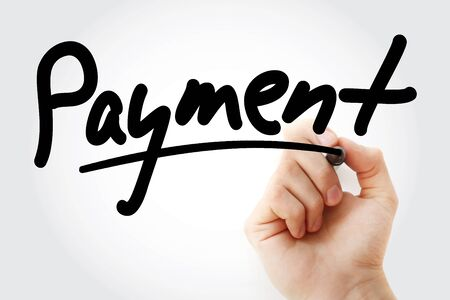 Hand writing PAYMENT with marker, business concept