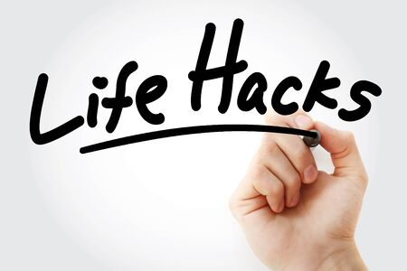 Hand writing Life Hacks with marker, concept background Banco de Imagens