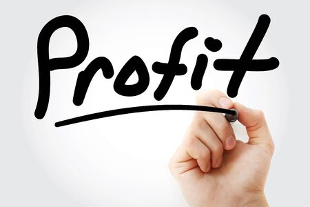 Hand writing PROFIT with marker, business concept