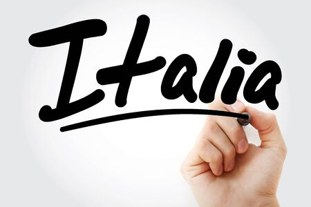 Hand writing Italia with marker, concept background