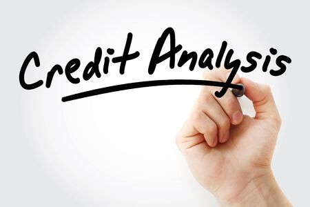 Hand writing Credit Analysis with marker, business concept