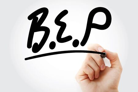 Hand writing BEP or Break Even Point with marker, business concept