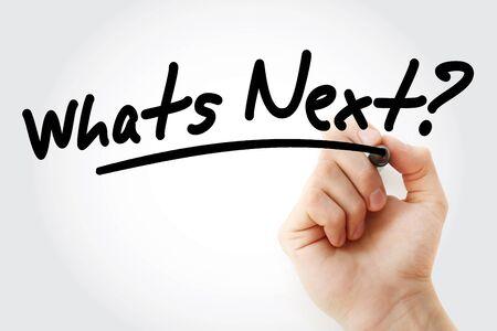 Handschrift Was kommt als nächstes? mit Marker, Konzepthintergrund