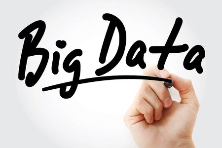Hand writing Big Data with marker, concept background