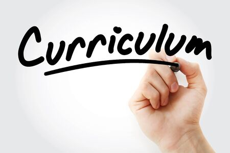 Hand writing Curriculum with marker, concept background