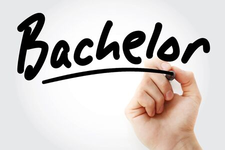 Hand writing Bachelor with marker, concept background Imagens