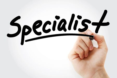 Hand writing SPECIALIST with marker, concept background Stock Photo