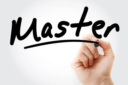 Hand writing Master with marker, concept background