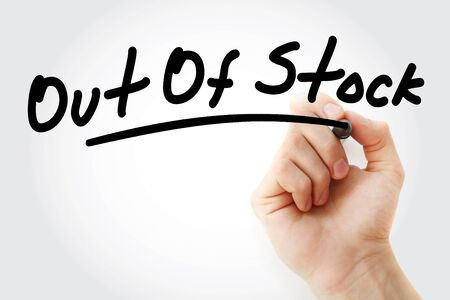 Hand writing Out Of Stock with marker, concept background Stock Photo