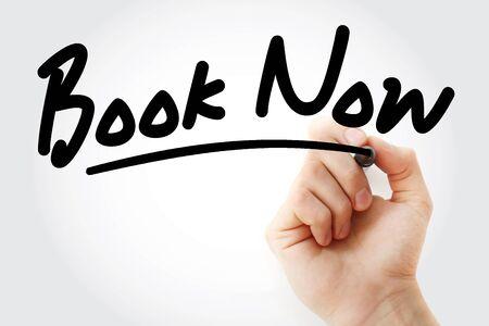 Handschrift Book Now mit Marker, Konzepthintergrund