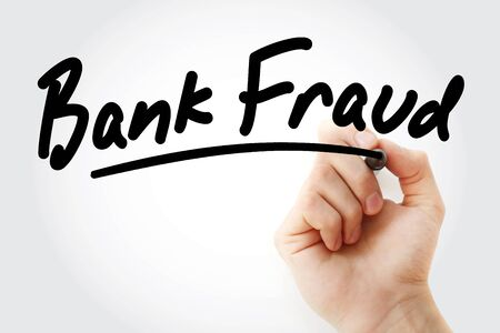 Hand writing Bank fraud with marker, concept background 写真素材