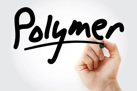 Hand writing Polymer with marker, concept background