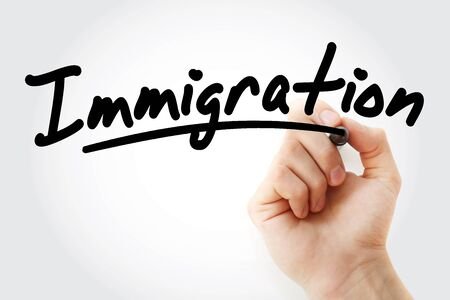 Hand writing Immigration with marker, concept background