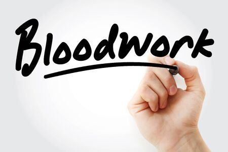 Hand writing Bloodwork with marker, concept background