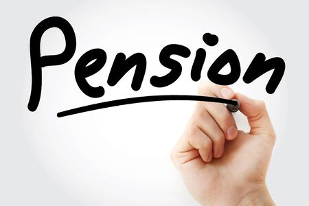 Hand writing Pension with marker, concept background