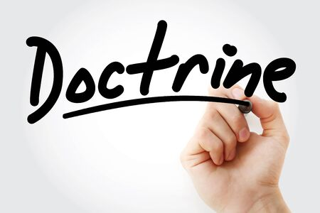Hand writing Doctrine with marker, concept background Stock Photo