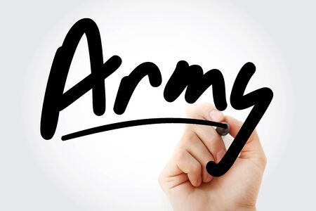 Hand writing Army with marker, concept background