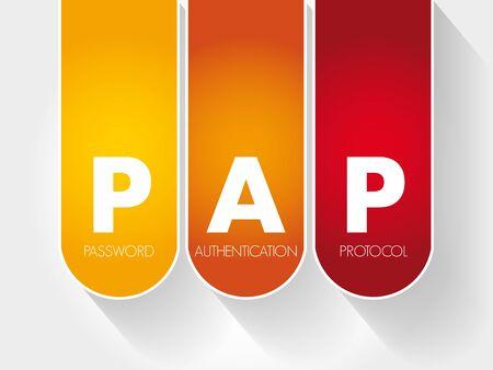 PAP Password Authentication Protocol acronym, technology concept
