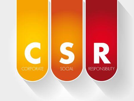 CSR - Corporate Social Responsibility acronym, business concept background Ilustração Vetorial