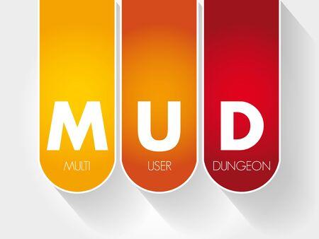 MUD - Multi User Dungeon acronym, technology concept