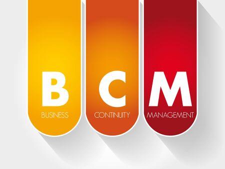 BCM - Acronyme de gestion de la continuité des activités, concept d'entreprise
