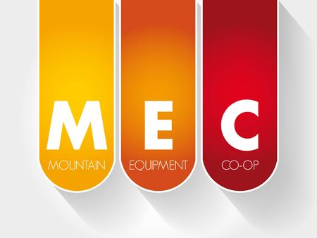 MEC - Mountain Equipment Co-Op acronym, concept background