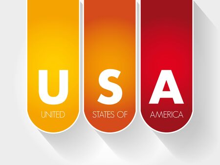 USA - United States of America acronym, concept background