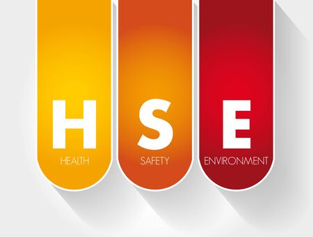 HSE - Health Safety Environment acronym, concept background 일러스트