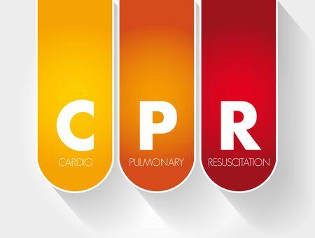 CPR - Cardiopulmonary Resuscitation acronym, medical concept background Foto de archivo - 132773898
