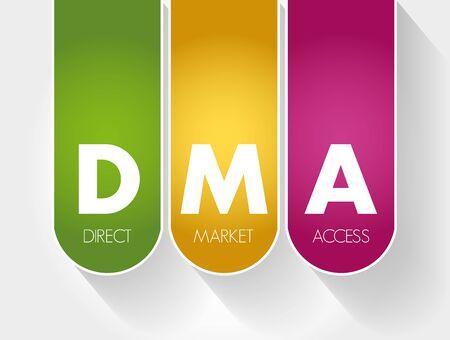 DMA - Direct Market Access acronym, business concept background Vektorové ilustrace