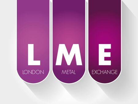 LME - London Metal Exchange acronym, business concept background