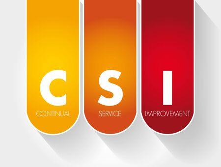 CSI - Continual Service Improvement acronym, business concept background Иллюстрация