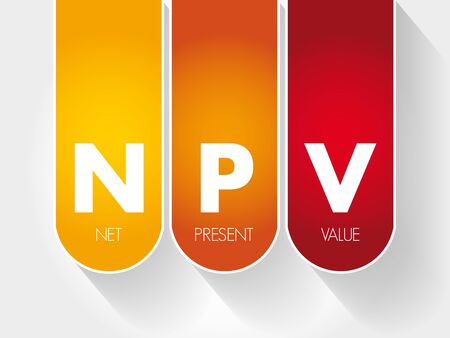 NPV - Net Present Value acronym, business concept background Ilustração